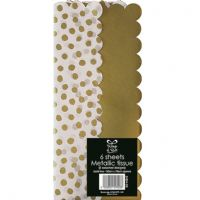 6 Sheets Gold Metalic Dotty Tissue Paper 50x70cm